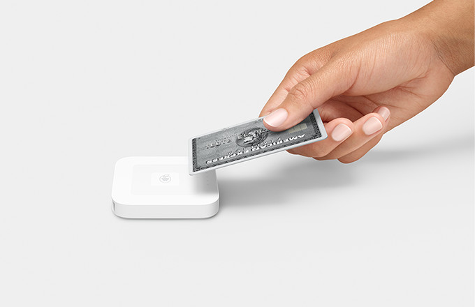 A view of the chip card reader that shows the 2 slots – one for magnetic stripe cards and one for chip cards.