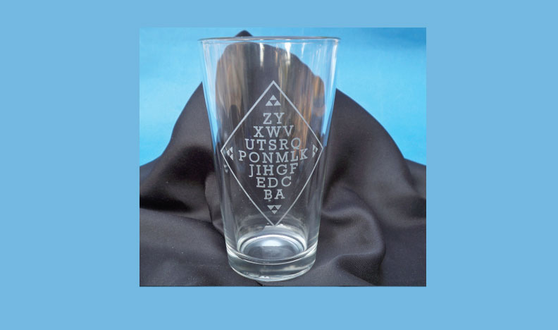 S Etched Glass