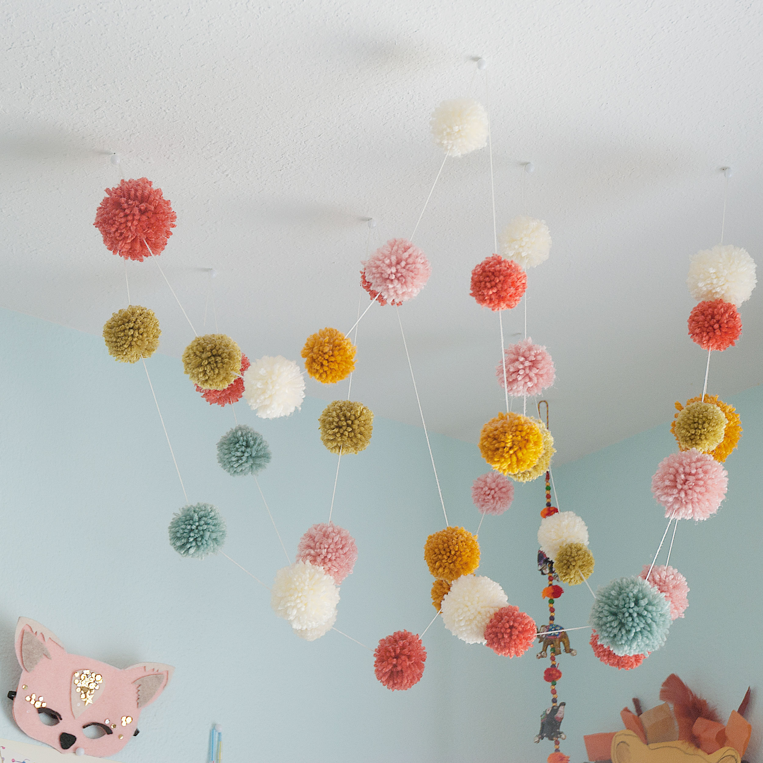 Pom pom garland ceiling affair 18 feet for Hanging pom poms from ceiling